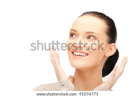 bright picture of happy woman with expression of surprise - stock photo