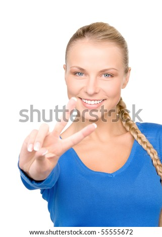 bright picture of lovely blonde showing victory sign