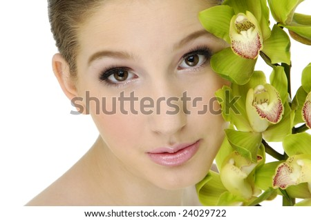 bright picture of lovely girl with orchid