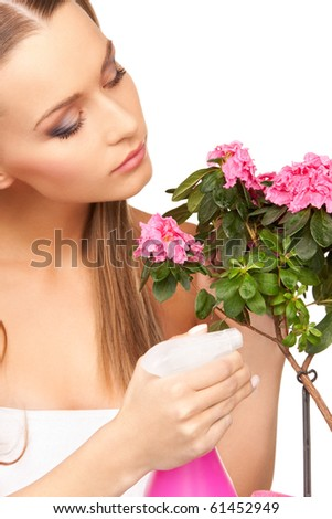 bright picture of lovely housewife with flowers