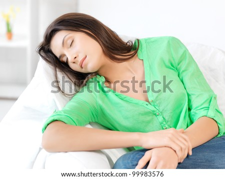 bright picture of lovely sleeping woman at home