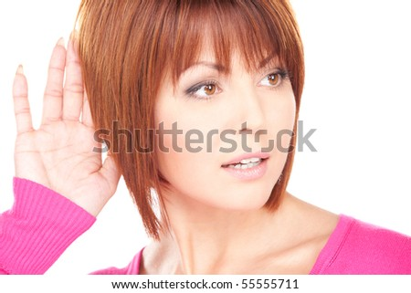 bright picture of lovely woman listening gossip - stock photo