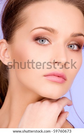 bright picture of lovely woman over blue