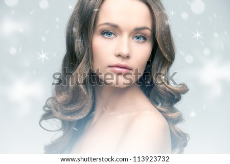 bright picture of lovely woman over white. - stock photo