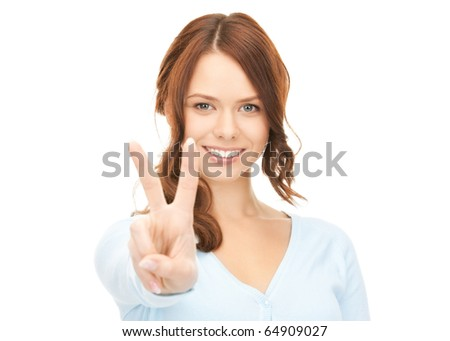 bright picture of lovely woman showing victory or peace sign