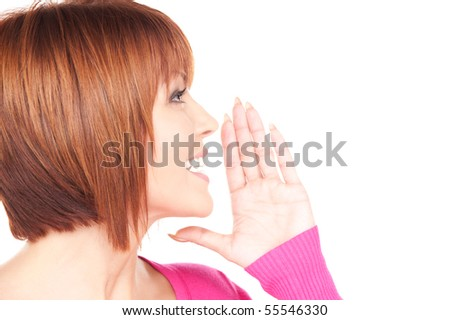 bright picture of lovely woman whispering gossip - stock photo