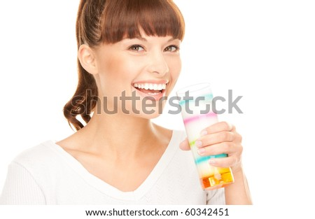 bright picture of lovely woman with glass of milk