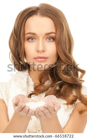bright picture of lovely woman with ice crystals