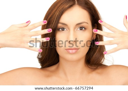 bright picture of lovely woman with polished nails over white - stock photo