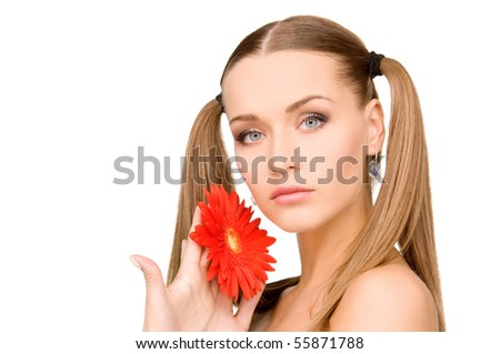 bright picture of lovely woman with red flower