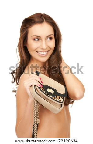 bright picture of lovely woman with small handbag