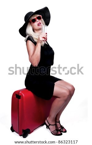 bright picture of lovely woman with suitcase - stock photo