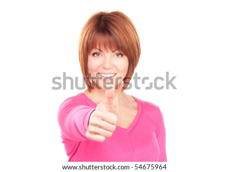 bright picture of lovely woman with thumbs up - stock photo