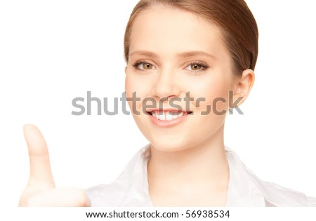 bright picture of lovely woman with thumbs up