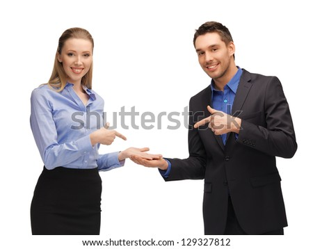 bright picture of man and woman showing something on the palms
