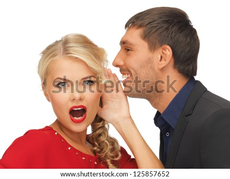 bright picture of man and woman spreading gossip (focus on woman)