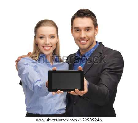 bright picture of man and woman with tablet pc.