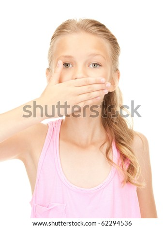 bright picture of pretty girl with hand over mouth - stock photo