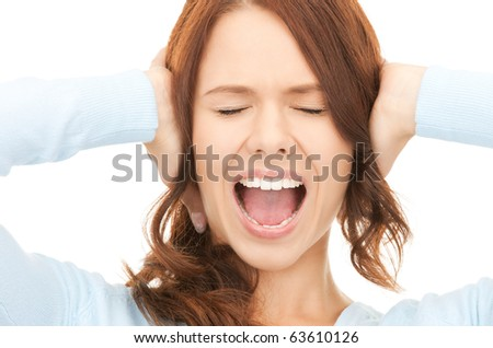 bright picture of screaming woman over white - stock photo