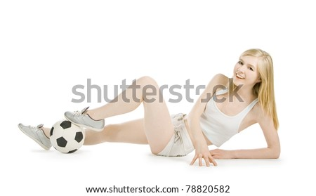 Bright picture of sexy woman with soccer ball over white - stock photo