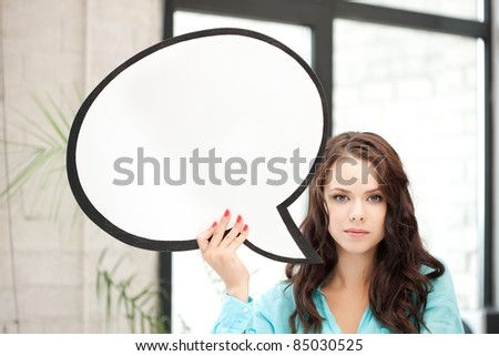 bright picture of smiling woman with blank text bubble