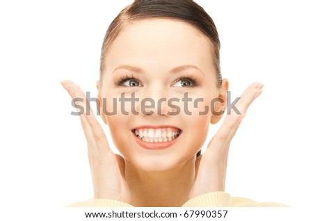 bright picture of surprised woman face over white