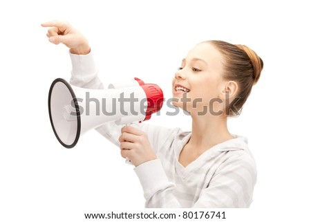 bright picture of teenage girl with megaphone - stock photo
