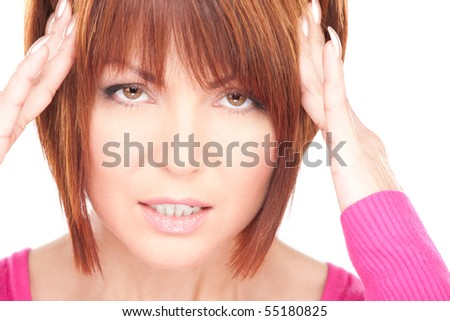 bright picture of unhappy woman over white - stock photo