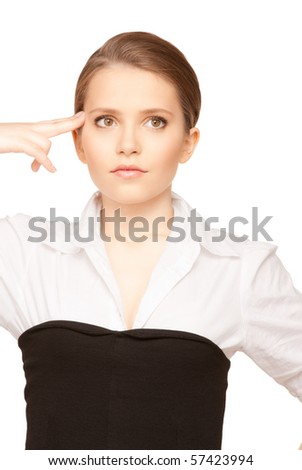 bright picture of unhappy woman showing suicide gesture - stock photo
