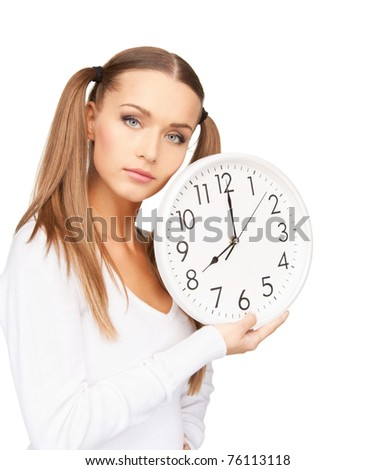 bright picture of woman holding big clock