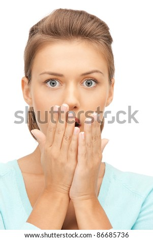 bright picture of woman with expression of surprise