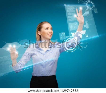 bright picture of woman working with virtual screens - stock photo