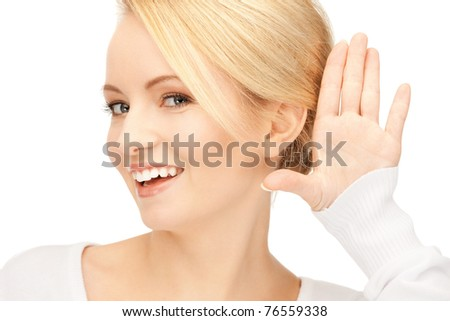 bright picture of young woman listening gossip - stock photo