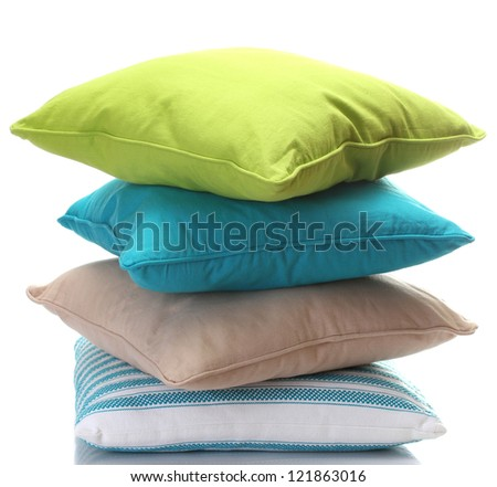 bright pillows isolated on white - stock photo