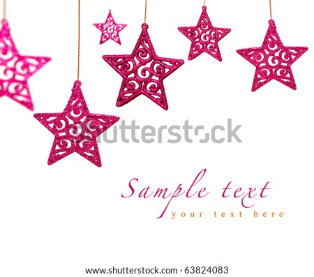 bright pink Christmas ornament stars with lace pattern isolated on white - stock photo
