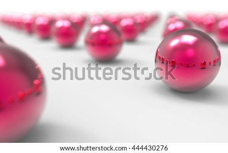 Bright Pink Glossy Balls. 3D Illustration.