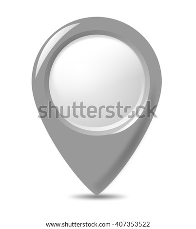 Bright, pointer button isolated on white background. - stock photo
