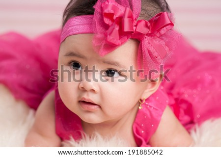 Bright portrait of beautiful baby girl  - stock photo