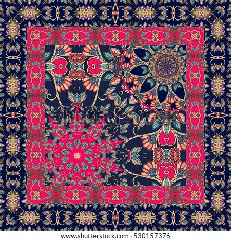 Bright print for shawl. Stylized stars - flowers and ornamental border.