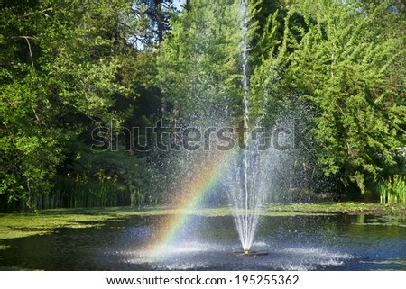 Bright rainbow in fountain - stock photo