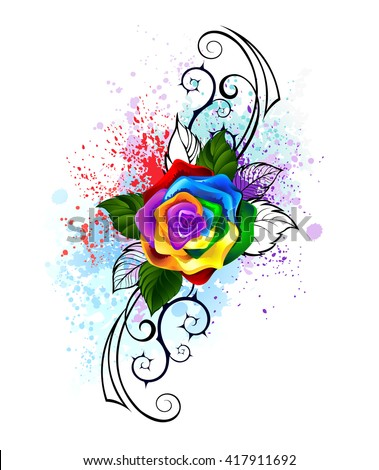 bright rainbow rose with spiked pattern on a white background, shaded bright splashes of paint.Design with roses. Tattoo style. Tribal graphics. Style sketch. Rainbow Rose.  - stock photo
