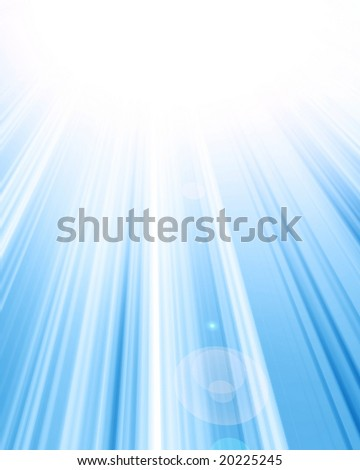 bright rays on a soft blue background