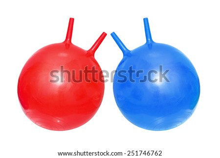 Bright red and blue fitballs, ball-kangaroo on white background - stock photo