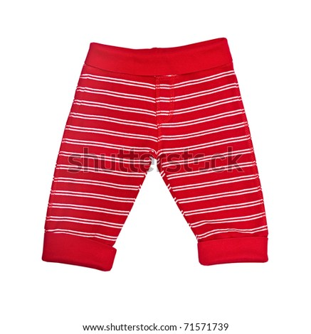 Bright red baby trousers isolated on white - stock photo