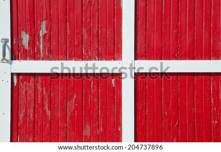 bright red barn door - stock photo