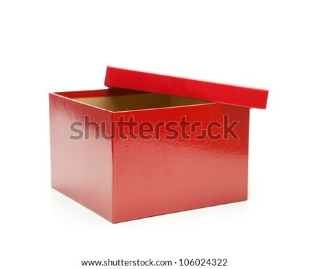 Bright red gift box, lid half open. Isolated on white. - stock photo