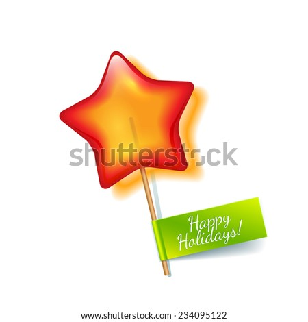 Bright red holiday star lollipop isolated on a white background with green label wish a Happy Holidays - stock photo