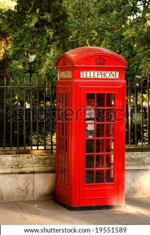 Bright red London telephone box in Leicester Square - stock photo