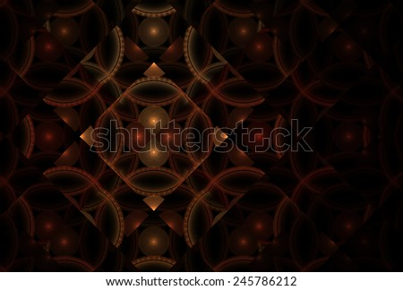 Bright red / orange / copper abstract shiny diamond design on black background - stock photo