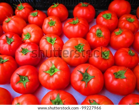 bright red organic tomatoes
